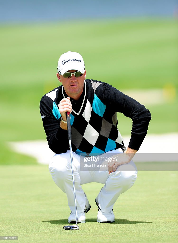 Peter Hanson of Sweden lines up his putt on the nineth hole during the third round of the Open Cala Millor Mallorca at Pula golf club on May 15, 2010 in Mallorca, Spain.