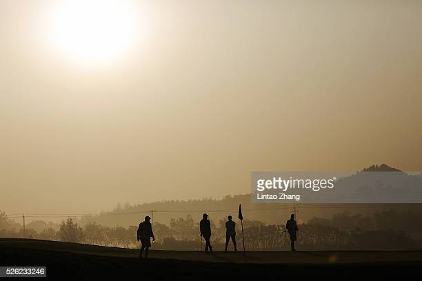 Peter Hanson of Sweden looks on during the second round of the Volvo China open at Topwin Golf and Country Club on April 30 2016 in Beijing China