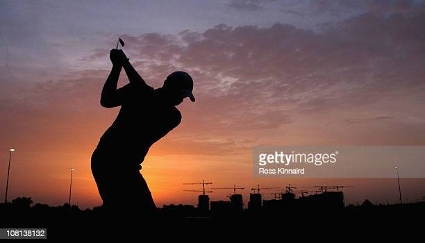 Peter Hanson of Sweden on the practice range during the proam event prior to the Abu Dhabi HSBC Golf Championship at the Abu Dhabi Golf Club on...
