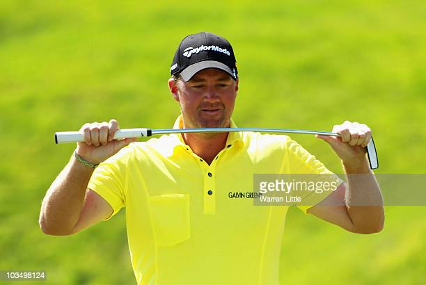 Peter Hanson of Sweden shows his frustration to a missed birdie putt on the ninth green during the second round of the Czech Open 2010 at Prosper...