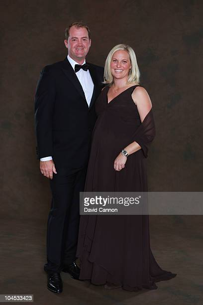 Peter Hanson of the European Ryder Cup team poses with his wife Sanna prior to the 2010 Ryder Cup Dinner at the Celtic Manor Resort on September 29,...
