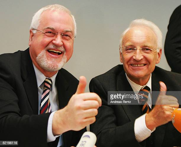 Peter Harry Carstensen and Edmund Stoiber attend a photocall while campaigning for CDU in regional elections for Schleswig Holstein on February 14...