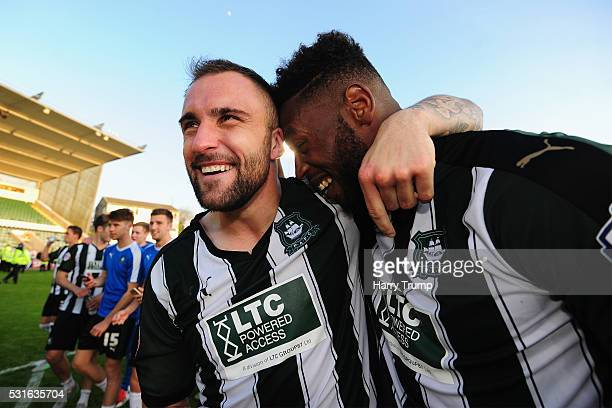 Peter Hartley of Plymouth Argyle celebrates with Jamille Matt of Plymouth Argyle after the Sky Bet League Two Play Offs Second Leg match between...