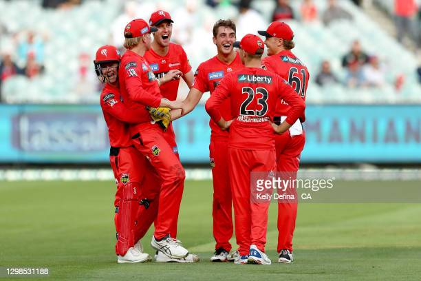 Peter Hatzoglou of the Renegades Will Sutherland of the Renegades and team mates react during the Big Bash League match between the Melbourne...