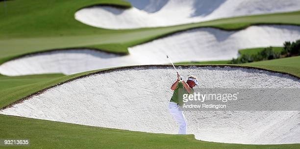 Peter Hedblom of Sweden hits his second shot on the 16th hole during the first round of the Dubai World Championship on the Earth Course Jumeirah...