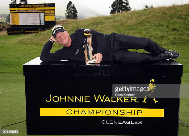 Peter Hedblom of Sweden with the winners trophy after the final round of the Johnnie Walker Championship on the PGA Centenary Course at Gleneagles on...
