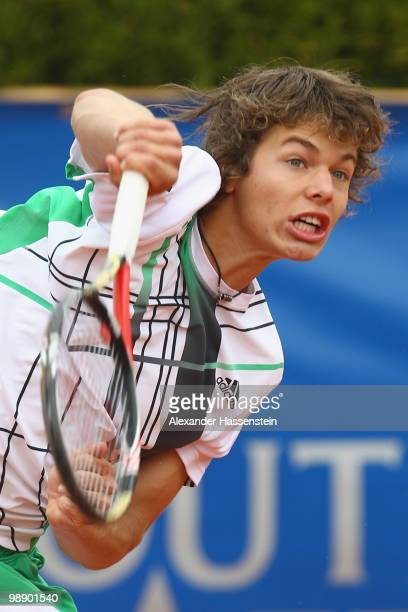 Peter Heller of Germany serves the ball during his match against Federico Valsangiacomo of Switzerland on day 6 of the BMW Open at the Iphitos tennis...