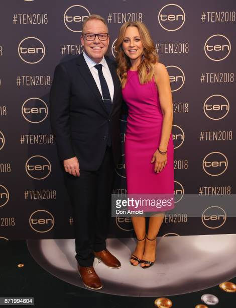 Peter Helliar and Carrie Bickmore pose during the Network Ten 2018 Upfronts on November 9, 2017 in Sydney, Australia.