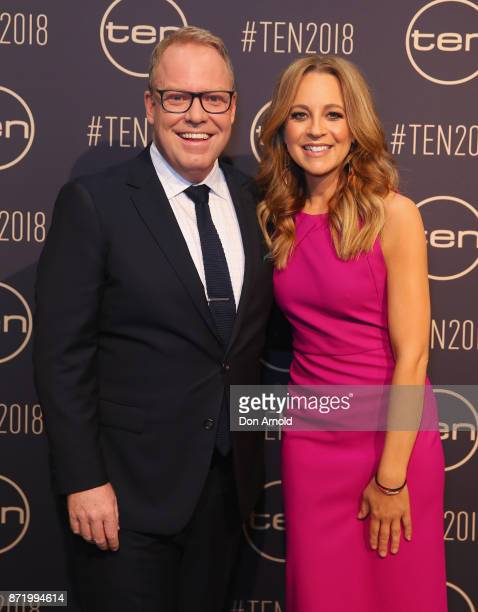 Peter Helliar and Carrie Bickmore pose during the Network Ten 2018 Upfronts on November 9 2017 in Sydney Australia