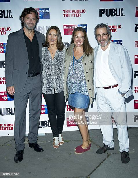 Peter Hermann Mariska Hargitay Elizabeth Marvel and Warren Leight attend the Public Theater's opening night of Cymbeline at the Delacorte Theater on...