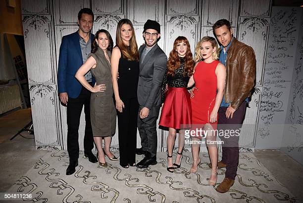 Peter Hermann Miriam Shor Sutton Foster Nico Tortorella Molly Bernard Hilary Duff and Dan Amboyer of the TV Land series 'Younger' attend AOL Build...