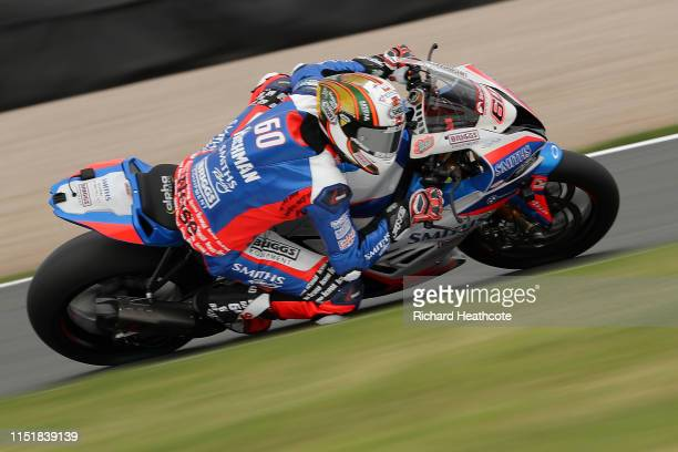 Peter Hickman in action during the Bennetts British Superbike Championship at Donington Park on May 26, 2019 in Castle Donington, England.