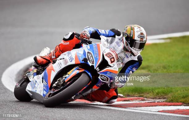 Peter Hickman of Great Britain in action during the British Superbike Championship at Oulton Park on September 08, 2019 in Chester, England.