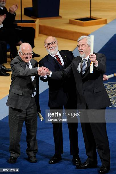 Peter Higgs Francois Englert and Rolf Heuer receive the Prince of Asturias Award for Technical Scientific Research during the 'Prince of Asturias...