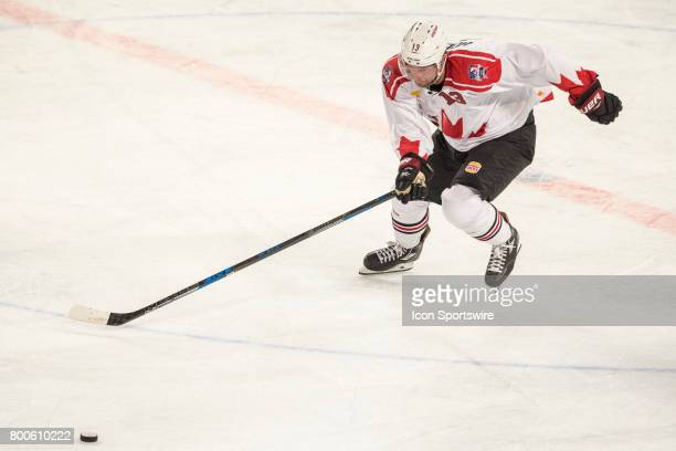 Peter Holland of Team Canada chases down the puck during the Melbourne Game of the Ice Hockey Classic on June 24 2017 held at Hisence Arena Melbourne...