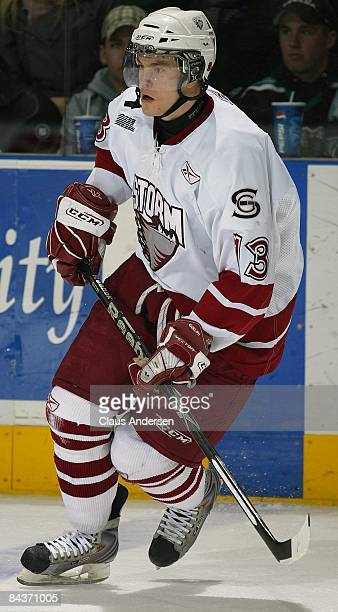 Peter Holland of the Guelph Storm skates in a game against the London Knights on January 16 2009 at the John Labatt Centre in London Ontario The...
