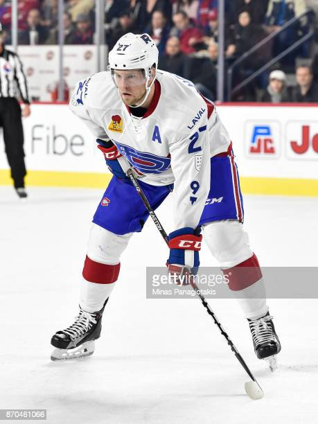 Peter Holland of the Laval Rocket looks on prior to a faceoff against the Toronto Marlies during the AHL game at Place Bell on November 1 2017 in...