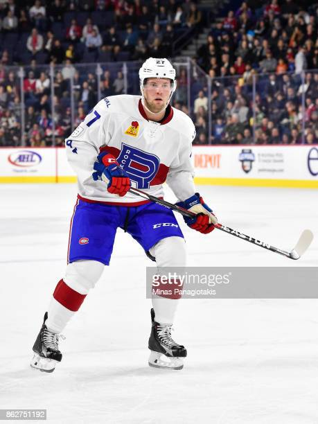 Peter Holland of the Laval Rocket skates against the Binghamton Devils during the AHL game at Place Bell on October 13 2017 in Laval Quebec Canada...