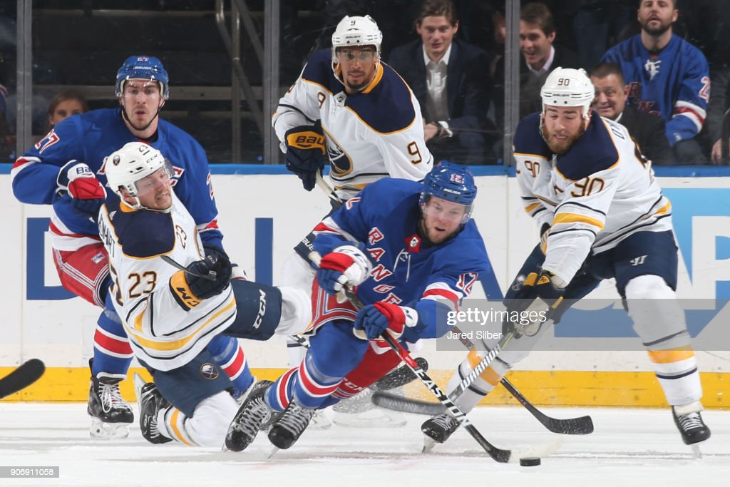 Peter Holland #12 of the New York Rangers clears the puck against the Buffalo Sabres at Madison Square Garden on January 18, 2018 in New York City.
