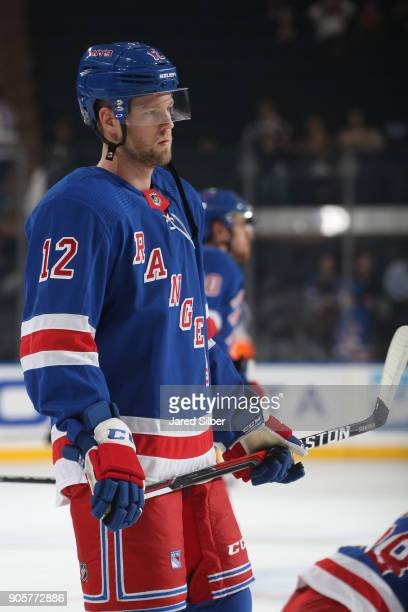 Peter Holland of the New York Rangers skates during warmups before his debut against the Philadelphia Flyers at Madison Square Garden on January 16...