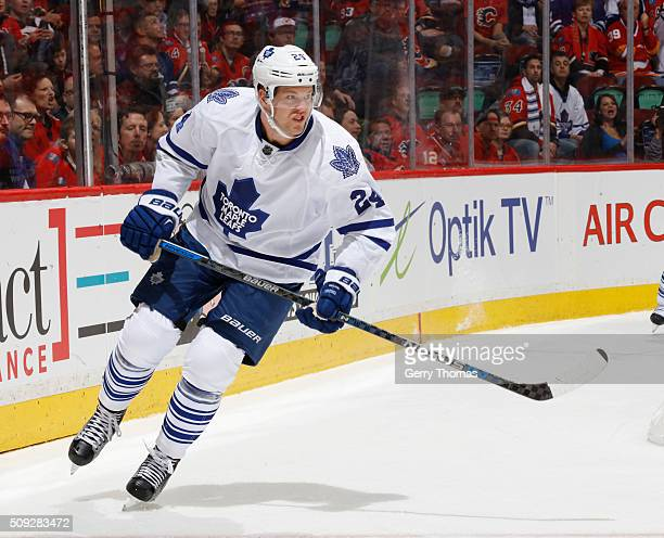 Peter Holland of the Toronto Maple Leafs skates against the Calgary Flames at Scotiabank Saddledome on February 9 2016 in Calgary Alberta Canada