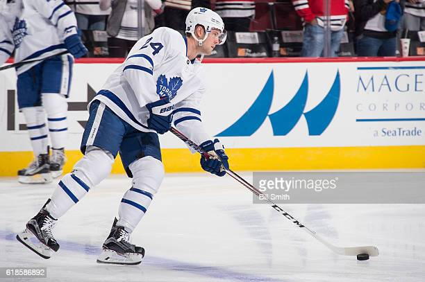 Peter Holland of the Toronto Maple Leafs warms up prior to the game against the Chicago Blackhawks at the United Center on October 22 2016 in Chicago...