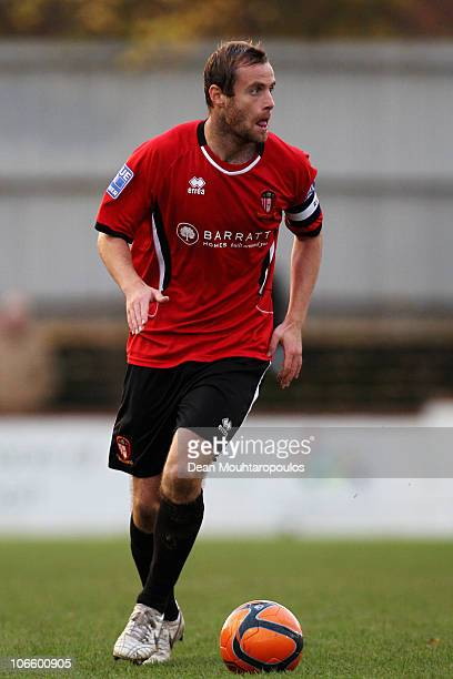 Peter Holmes of Hayes Yeading in action during the Hayes and Yeading United FC and Wycombe Wanderers FA Cup 1st Round Proper match at Church Road on...