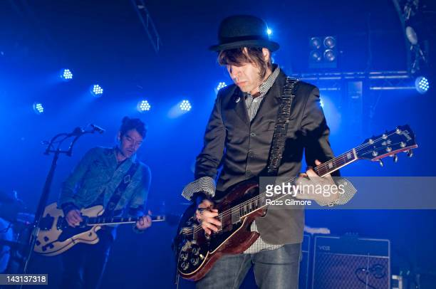 Peter Holmstrom and Courtney TaylorTaylor of The Dandy Warhols perform on stage at Garage on April 19 2012 in Glasgow United Kingdom