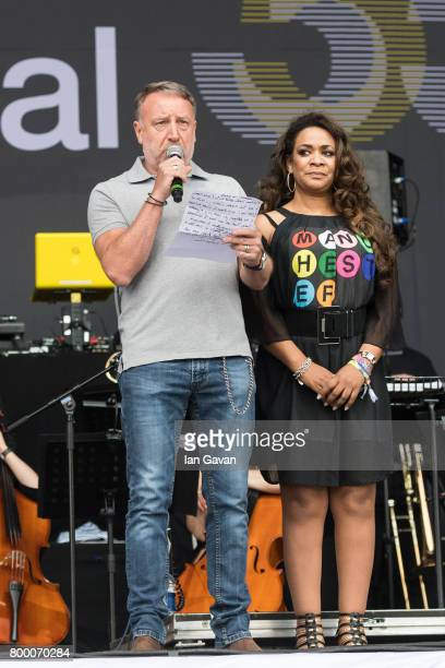 Peter Hook speaks on stage with the Hacienda Classical on the Pyramid Stage during day 2 of the Glastonbury Festival 2017 at Worthy Farm Pilton on...