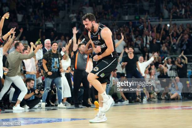 Peter Hooley of Melbourne United celebrates a point during game one of the NBL Grand Final series between Melbourne United and the Adelaide 36ers at...