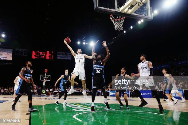 Peter Hooley of United puts up a shot during game two of the NBL semi final series between Melbourne United and the New Zealand Breakers at Spark...