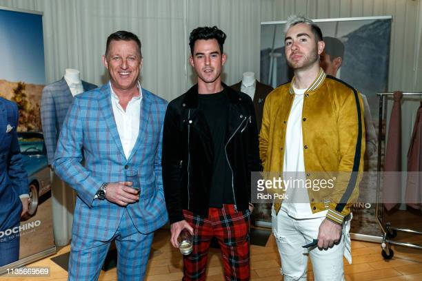 Peter Housley poses with guests at the Indochino Los Angeles Spring/Summer '19 Launch Party at SkyBar at the Mondrian Los Angeles on March 13 2019 in...