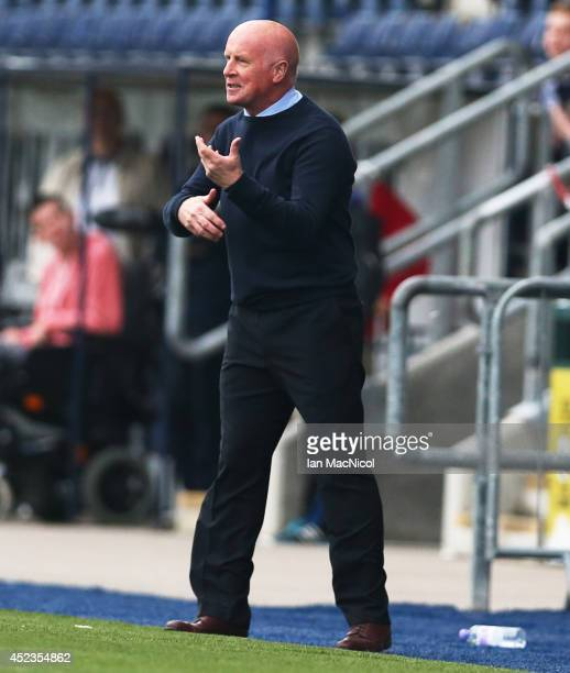Peter Houston manager of Falkirk gestures during the Pre Season Friendly match between Falkirk v Rotherham United at The Falkirk Stadium on July 18...