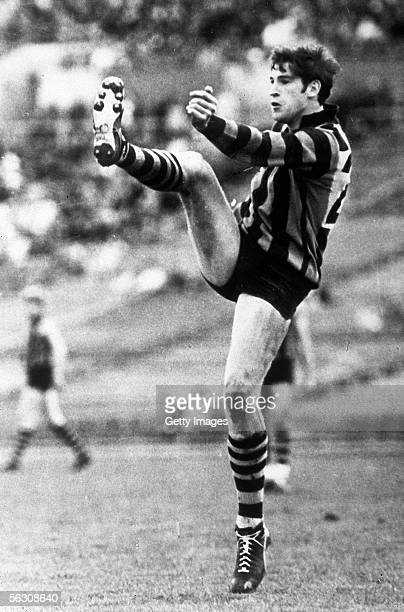 Peter Hudson of the Hawthorn Hawks in action during a VFL match in Melbourne Australia