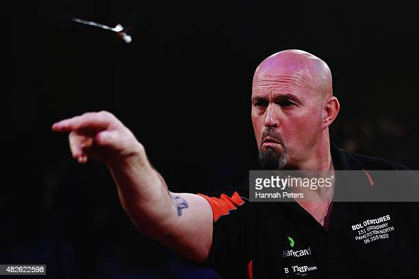 Peter Hunt competes in the Super League Darts semi final match between Craig Caldwell and Peter Hunt at Sky City on August 1 2015 in Auckland New...
