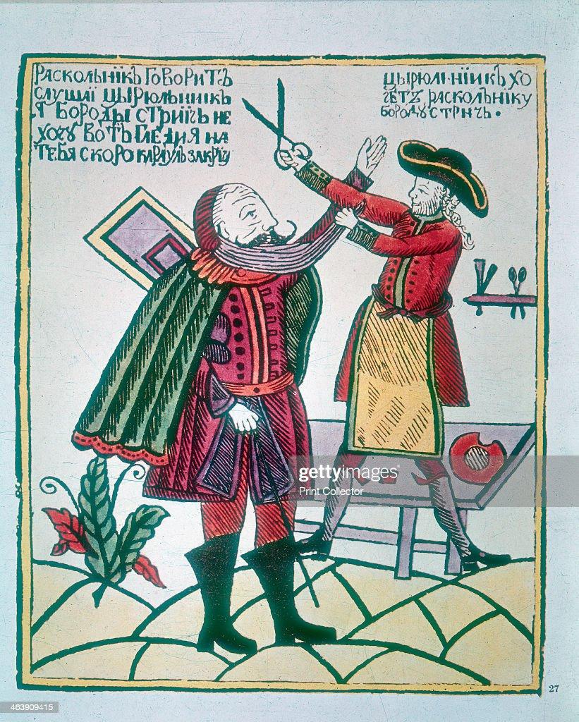 Peter I, the Great (1672-1725), Tsar of Russia, cutting a Boyar's (nobleman) beard. : News Photo
