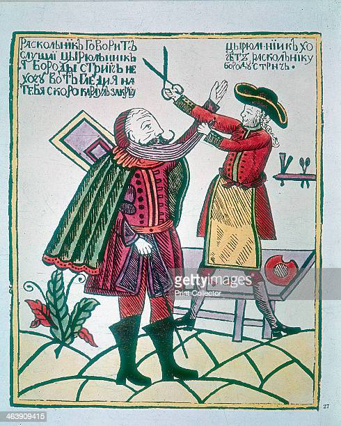 Peter I, the Great , Tsar of Russia, cutting a Boyar's beard. Peter became Tsar in 1682. He embarked on a campaign to modernise and Europeanise...