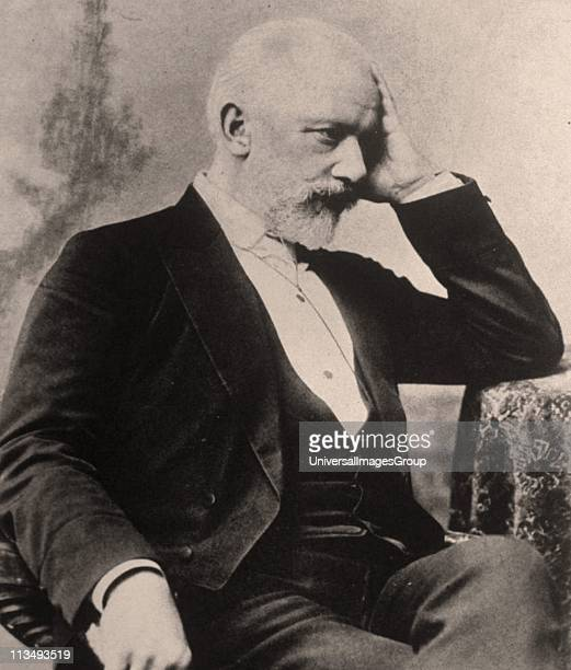 Peter Ilich Tchaikovsky Russian composer Tchaikovsky seated in chair elbow on table head on hand Portrait Music Romantic Musician