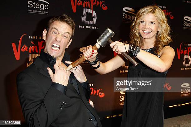 Peter Imhof and Eva Schulz attend the Berlin musical premiere Tanz der Vampire at Theater des Westens on November 14 2011 in Berlin Germany