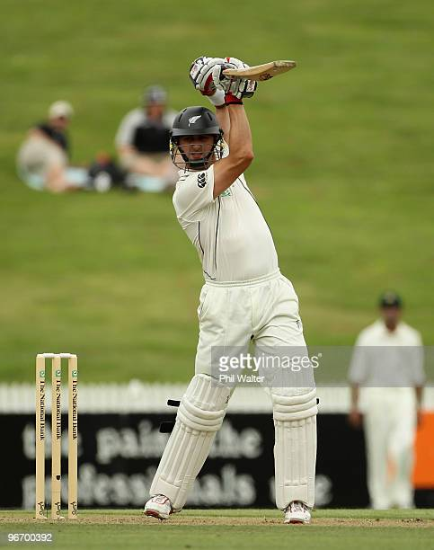 Peter Ingram of New Zealand bats during day one of the First Test match between New Zealand and Bangladesh at Seddon Park on February 15 2010 in...