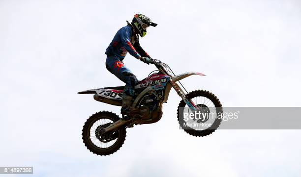 Peter Irt of Slovenia in action during the International German Motocross Championships on July 15 2017 in Tensfeld Germany