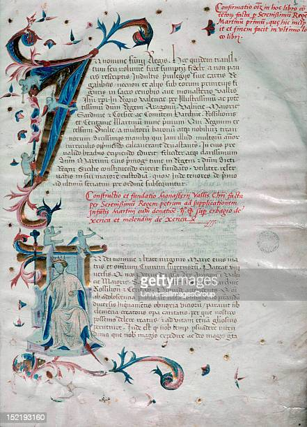 Peter IV of Aragon the Ceremonious King of Aragon Valencia Majorca and Count of Barcelona Portrait in a capital letter of the 'Book of Privileges of...