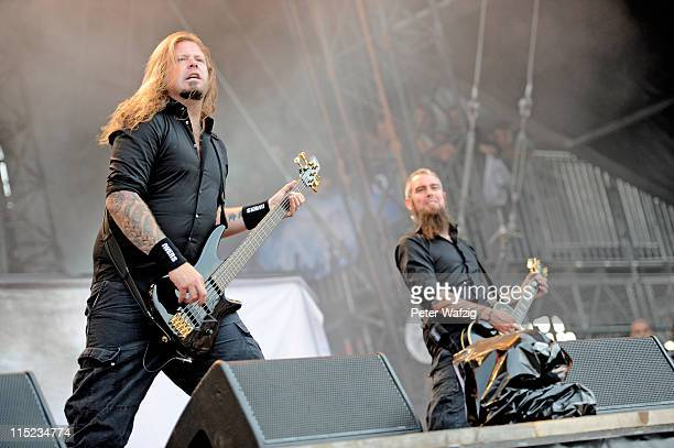 Peter Iwers and Bjoern Gelotte of In Flames perform on stage during the second day of Rock Am Ring on June 04 2011 in Nuerburg Germany