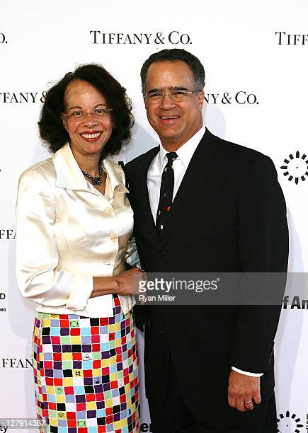 Peter J. Taylor, Getty Trustee and wife pose during the Pacific Standard Time: Art in LA 1945-1980 opening event held at the Getty Center on October...