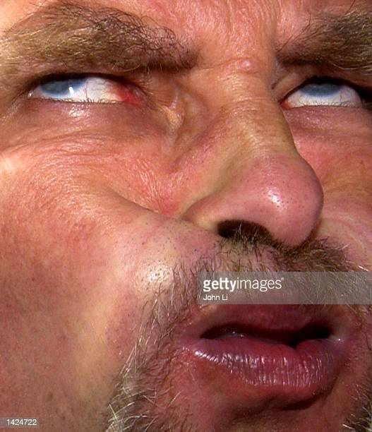 Peter Jackman last years runner up at the World Gurning Championships gurns at the Crab Apple Fair September 212002 in Egremont Cumbria United...