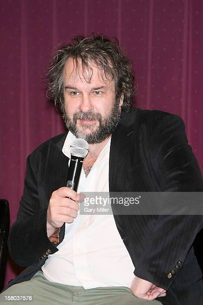 "Peter Jackson speaks after a screening of the new film ""The Hobbit"" during Ain't It Cool News's Butt-Numb-A-Thon 14 at the Alamo Drafthouse on..."