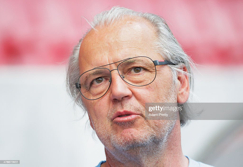 Peter Jackwerth of FC Ingolstadt speaks to the media during first day of training at Audi Sportpark on June 28, 2015 in Ingolstadt, Germany.