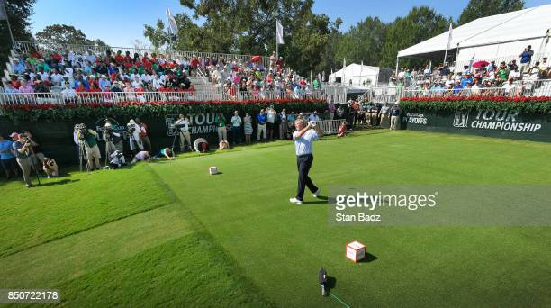 Peter Jacobsen hits the opening ceremony tee shot on the first hole during the first round of the TOUR Championship the final event of the FedExCup...