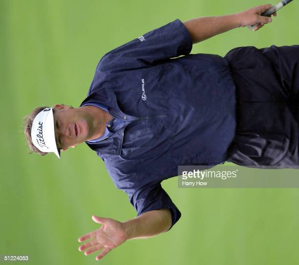 Peter Jacobsen reacts to making his birdie putt on the ninth hole during the first round of the Jeld Wen Tradition at the Reserve Golf Club on August...