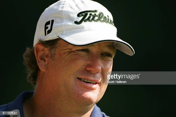 Peter Jacobsen waits on the 16th green during the second round of the 25th US Senior Open on July 31 2004 at Bellerive Country Club in St Louis...